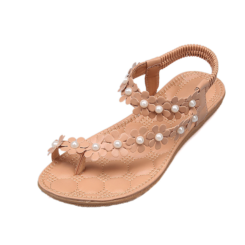 цена на 2018 New Sandals Women Fashion Summer Bohemia Flower Beads Flip-flop Shoes Casual Beach Flat Casual Ladies Sandals Shoes