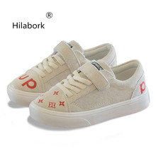 Hilabork 2018 spring and autumn new breathable personality pigskin flat  fashion casual shoes students wild sneaker 1d77a159fbeb