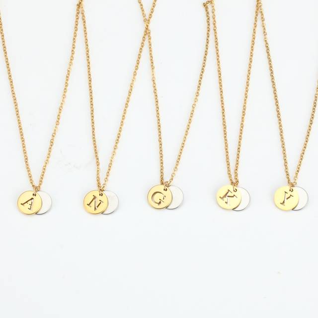 5cfac16ea Detail Feedback Questions about 26 Letter Personalized Name Jewelry Gold  Engrave Letter 2 Discs Choker Monogram Custom Initial Necklace Pendant for  Trendy ...