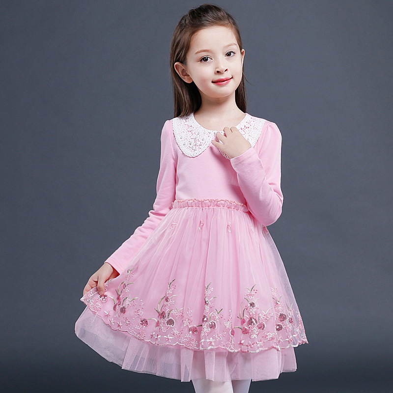 Girl Party Dress Wedding Birthday Girls Dresses Ball Gown Princess Flowers Embroidery Peter Pan Collar Clothes children 4-14T y 1084040 retail new 2015 summer girls top peter pan collar printing parrot birds girl blouses tees children t shirts clothes