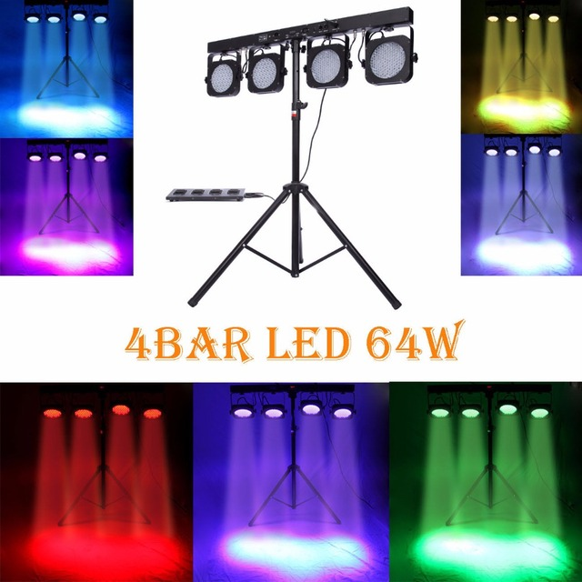 Ship From Usa 4 Bar Dmx Led Wash Rgb Par 64 Stage Light Kit System Lighting Foot Controller