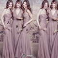 Cheap Maid Of Honor Dresses Floor Length Fit and Flare Pleats Mermaid Tulle Grey Different Style Bridesmaid Dresses