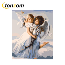 RIHE Little Angel Drawing By Numbers DIY Wings Painting Handwork On Canvas Oil Wall Art Coloring Home Decor 2018