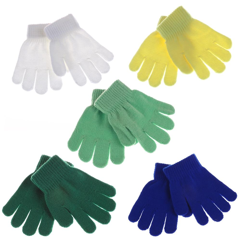 1pairs Baby Gloves Winter Warm Baby Gloves Knitted Stretch Mittens Kids Girls Gloves Full Finger Glove Knitted Random Send