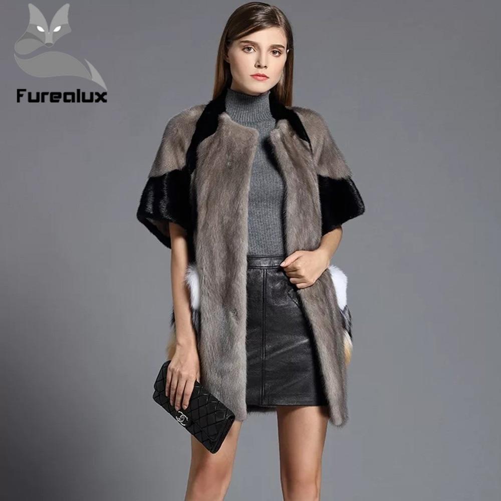 Furealux 2019 Natural Real visón abrigo de piel las mujeres desplazamientos-ocio Real Piel de visón chaqueta mujer invierno señoras reales abrigo de piel