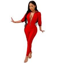 25cc20dbb70 Jumpsuit for women fashion v neck rompers women jumpsuit slim fit solid one  piece bodysuit YM