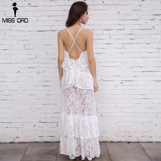 Free Shipping  Missord 2019 Sexy V-neck sleeveless lace stitching halter split maxi dress FT4675 2