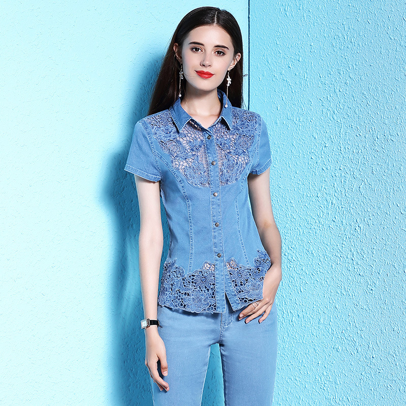 Summer new stylish women s fashion lace shirt lace stitching large size summer thin blouse short