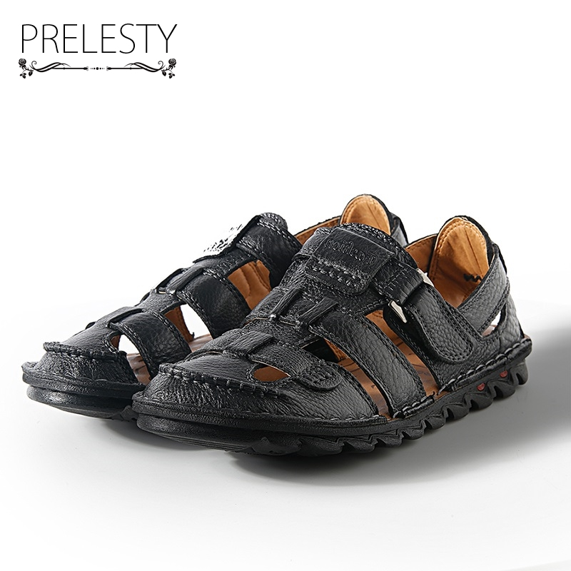 Prelesty 2018 Summer Mens Leather Sandals Gladiator Casual Strap Beach Slide Shoes Open Toe Breathable Waterproof Holes