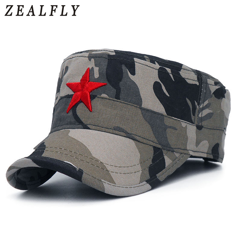 Fashion Red Star Men Cap Embroidered Flat Hats Army Cap Outdoor Sun Casual Sports Tactical Caps German Cadet Military Caps