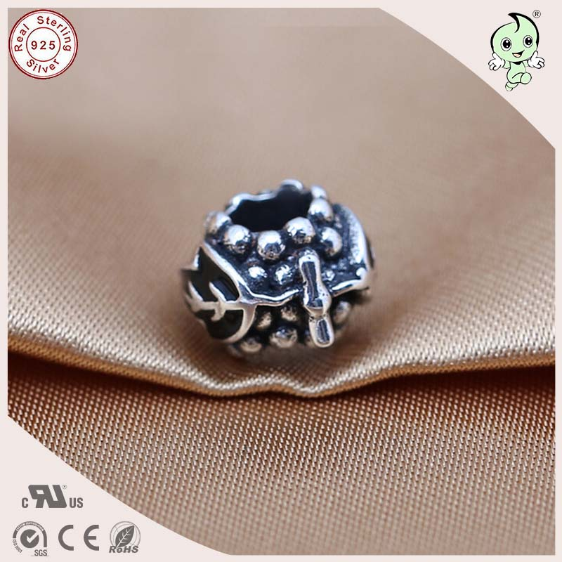 DIY Hot Sale Good Quality Titanium 925 Real Silver Cute Grace Black Enamel Charm Fitting Famous Bracelet