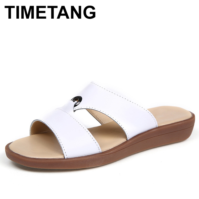 TIMETANG Bohemia Summer Casual Women wedges Flat Sandals Platform 2018 Woman Ladies Beach Shoes Flip Flops Genuine leather C192 casual bow slides women summer beach shoes woman leather slippers flat flip flops ladies sandals