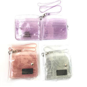 Purse Wallets Lanyard Id-Card-Holder Glitter Transparent Bling Fashion Women Girl PVC