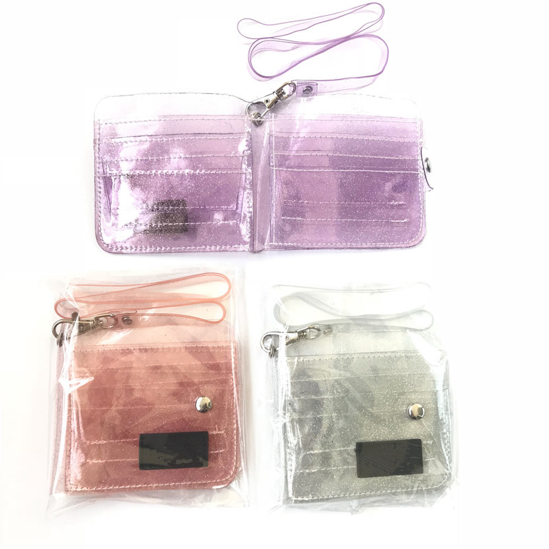 Bling Transparent ID Card Wallet PVC Folding Lanyard Glitter Business Card,Pu TD