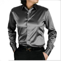 21 color men Very good quality long sleeve business leisure silk shirt men Cultivate one's morality shirt plus size S 5XL SA0160