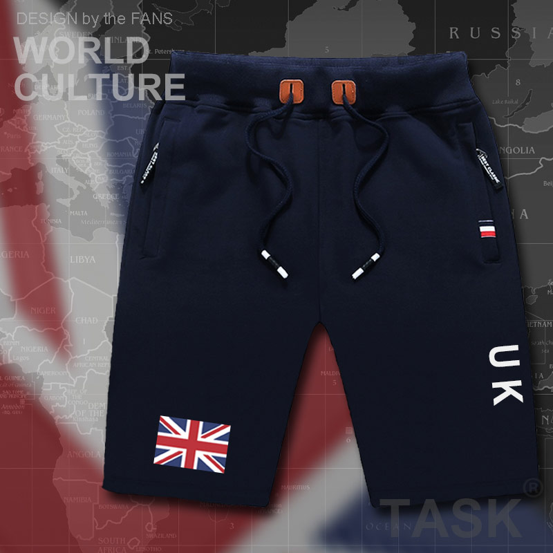 UK United Kingdom of Great Britain mens shorts beach new mens board shorts flag workout zipper pocket sweat bodybuilding 2017