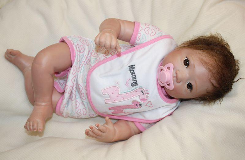 New girl Bebe Reborn 50cm Silicone Reborn Baby Dolls Boneca Reborn Realista Fashion Dolls For Princess Children Birthday Gift in Dolls from Toys Hobbies