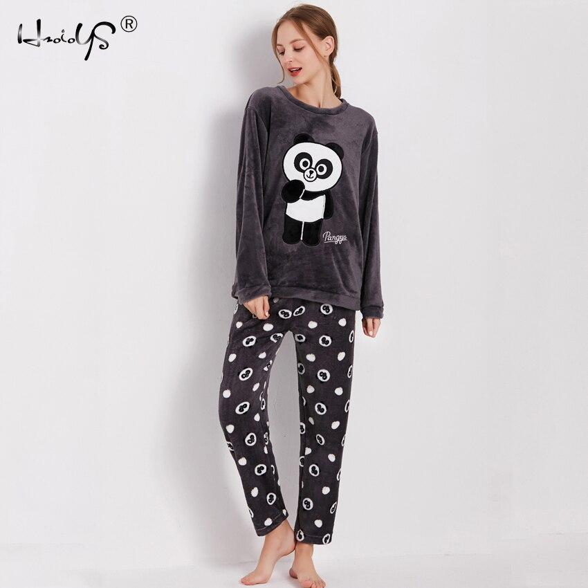 Cartoon Panda and Letter Pajama Sets Sleepwear Women Winter Flannel Plus Size Full Length Warm Party Pyjamas Sleepwear For Women 83