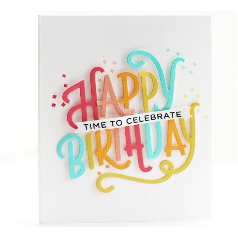 Eastshape Words Happy Birthday Stamps and Dies Scrapbooking Balloon for Card Making DIY Embossing Craft Dies Stamp Sets 2019 in Cutting Dies from Home Garden