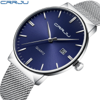 High Quality Top Brand CRRJU Watches Men Stainless Steel Mesh Band Fashion Analog Quartz Watch Ultra