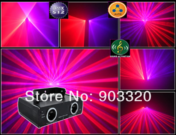 HOT Sale 200mW RB Double Laser Show Dual Tunnl Red Blue Fat Beam Laser Light Disco
