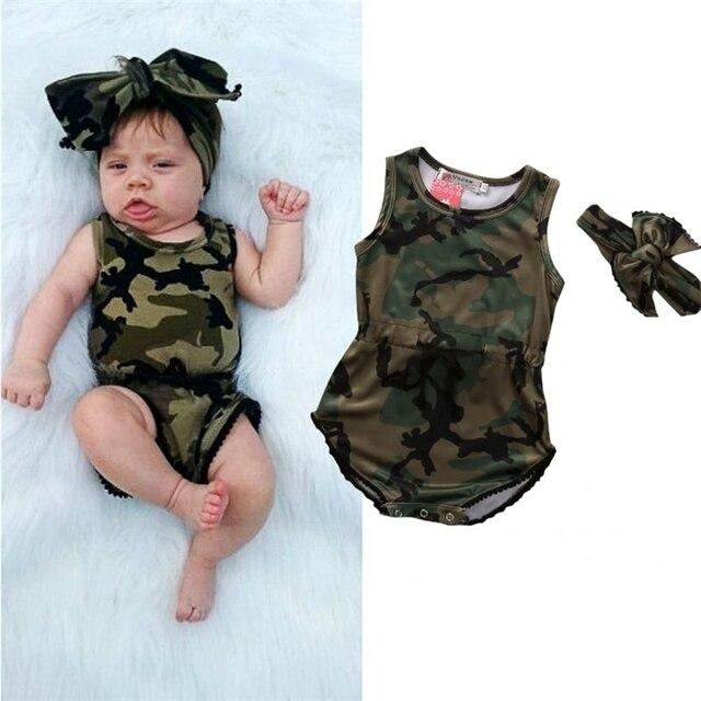 2017 Newborn Baby Girls Army Green Bodysuit+Headband Camo Infant Kids Girls  Bodysuit Jumpsuit 2pcs 68a8aecaade