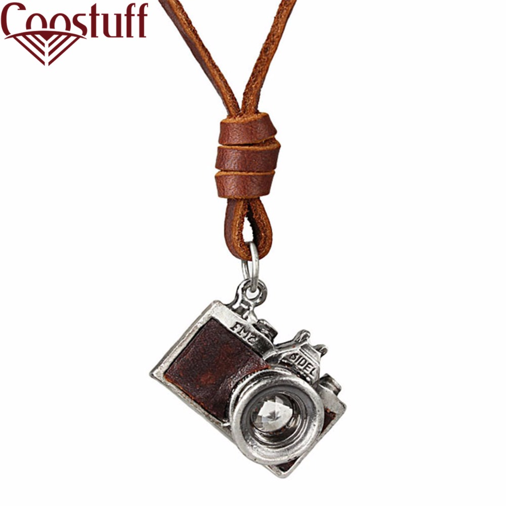 Men Necklace, 2017 New Jewelry,Camera Pendant maxi necklace, Men Woman choker,Genuine Leather Necklace, collier, collares, kolye