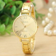 High quality Brand Female Thin Strap Big Dial Watches Lady Gold Plated Stainless Steel Watch Women Wristwatch
