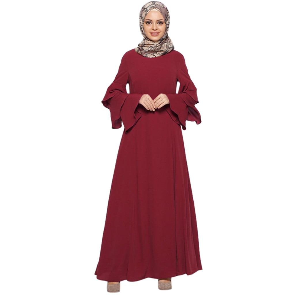 Women Muslim Casual Loose Solid Color Long Sleeve Robe Clothing Abaya Islamic Arab Kaftan Dubai Muslim Women 2019 New Arrivals