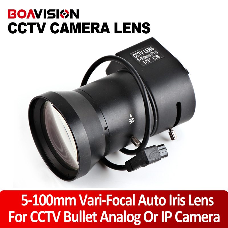 IP camera lens bullet camera Varifocal 5~100mm  Aperture Range 1/3 Auto Iris F1.8 CS mount DC Drive Lens for Security CCTV bullet camera tube camera headset holder with varied size in diameter