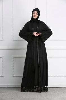Muslim Abaya Grenadine Black Lace Full Dresses Cardigan Kimono Long Robe Gowns Jubah Middle East Ramadan Arab Islamic Clothing