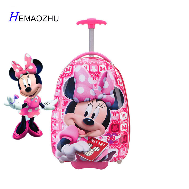 2018 New Girl 16 Inch Cartoon Children's Rolling Suitcase Children's Suitcase Boy Princess Mickey ABS Trolley Case Boarding Box