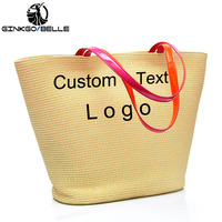 Customize Embroider Text Name LOGO Women Beach Bag Large Woven Straw Beach Bag Handbag Summer Big Capacity Bohemian Shoulder Bag
