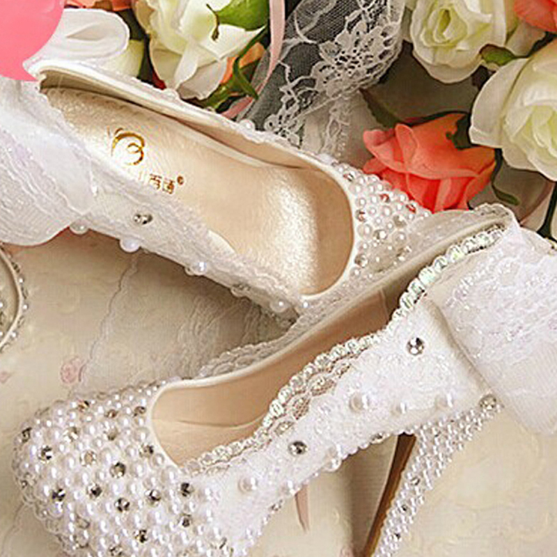 2016 White Bowtie Lace Wedding Dress Shoes Crystal Pearl Bridal ShoesBride Platform High Heels Bridesmaid Shoes Prom Shoes new arrival white wedding shoes pearl lace bridal bridesmaid shoes high heels shoes dance shoes women pumps free shipping party