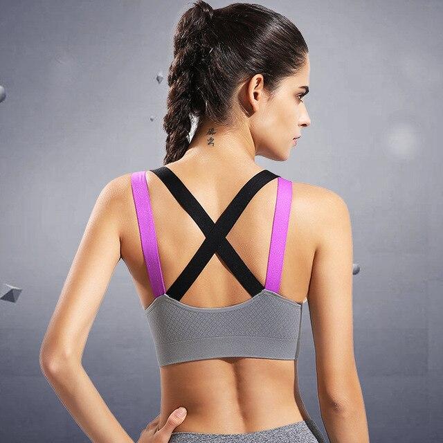 Fitness Yoga Push Up Sujetador deportivo para mujer gimnasio correr acolchado tanque Top Atlético ropa interior a prueba de golpes Sujetador deportivo de tiras top