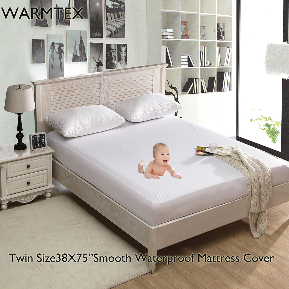 WARMTEX Twin/Full/Queen/King Smooth Waterproof Mattress Protector Hypoallergenic Mattres ...