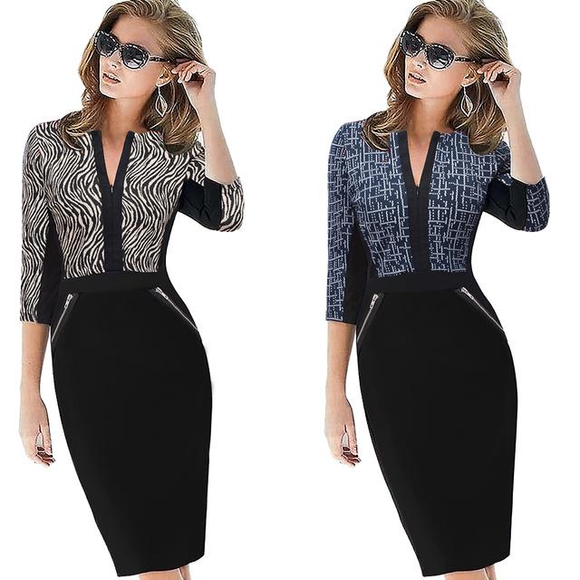 Nice-forever Office Women Zipper Plus Size fashion Patchwork V neck vestidos Wear to Work Formal bodycon Business Dress 837