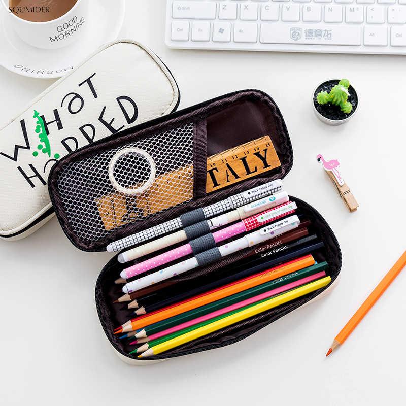 黒 & 白の漫画ジッパー鉛筆バッグ創造ペンケース大容量ペンバッグ & ボーイズのために SchoolStationery 用品