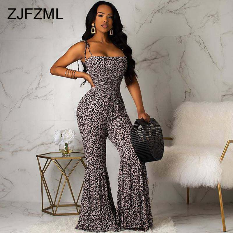 Leopard Sexy Bell Bottom Overalls for Women Spaghetti Strap High Waist Bodycon   Jumpsuit   Summer Backless Sleeveless Club Rompers