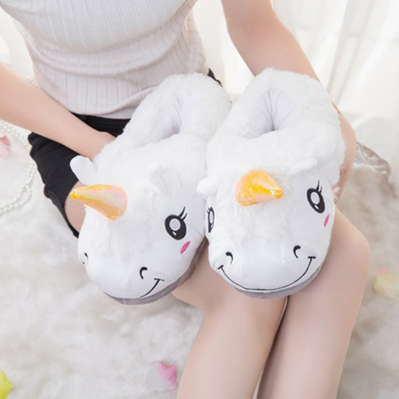 New Winter Indoor Slippers Plush Home Shoes Unicorn Slippers for Grown Ups Unisex Warm Home Slippers Shoes 4 Types OR986740 soft plush big feet pattern winter slippers
