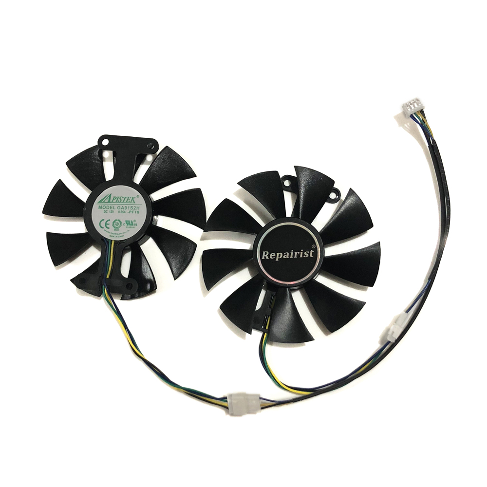 2pcs/set GA91S2H GeForce <font><b>GTX</b></font> 950 <font><b>960</b></font> 1050 1060 GPU Cooler <font><b>Fan</b></font> For ZOTAC GTX1050Ti X-Gaming GTX760 2GD5 HB VGA Cards Cooling image