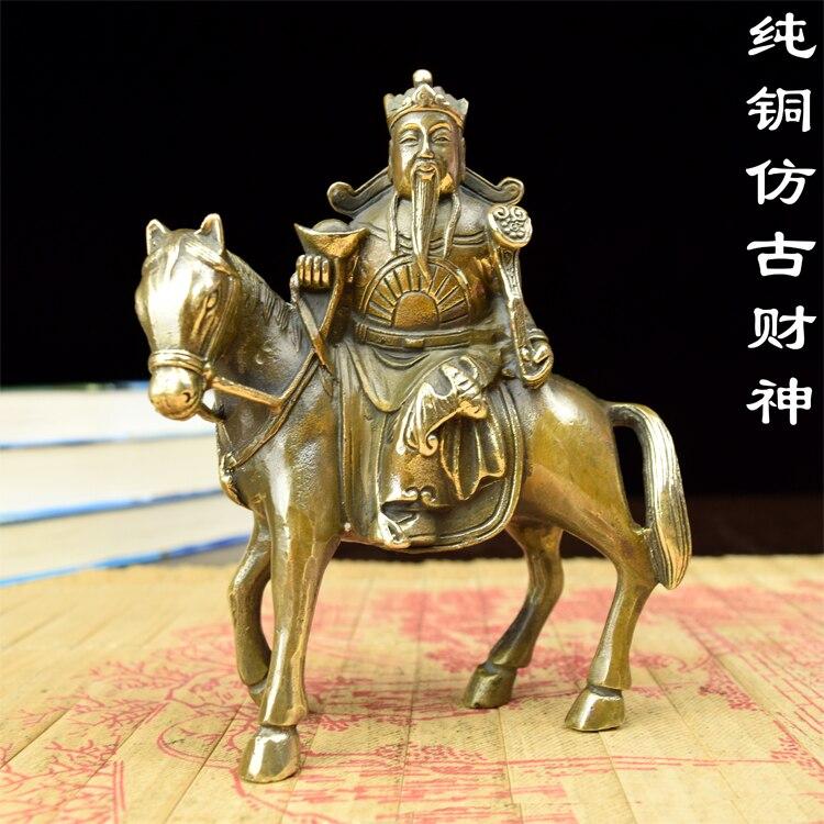 Les anciens ornements en cuivre cuivre basculent immédiatement pour faire le vieux cheval immédiatement le dieu de la richesse or