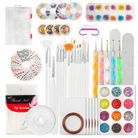 Nail Art Set 124 Pcs DIY Nail Art Tools Decoration Manicure Kit Including Nail Glitter Rhinestones Nail Design Supplies
