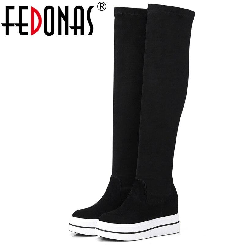 FEDONAS New Women Slim High Boots Wedges High heels Warm Snow Boots Ladies Autumn Winter Party