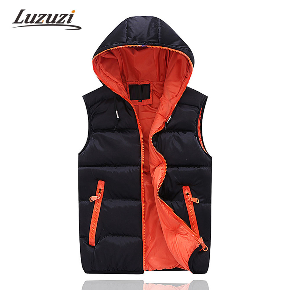 mens sleeveless jacket veste homme winter fashion casual coats male hooded cotton padded men 39 s. Black Bedroom Furniture Sets. Home Design Ideas