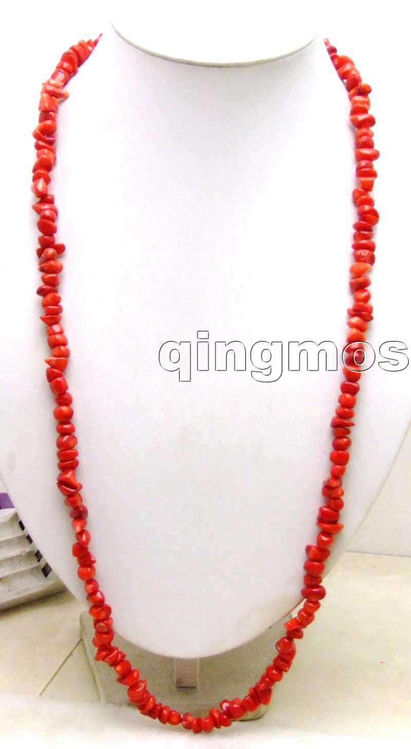 Collier en corail Baroque rouge naturel, très Long, 32 pouces, taille 6 à 8mm, 5400, soldes