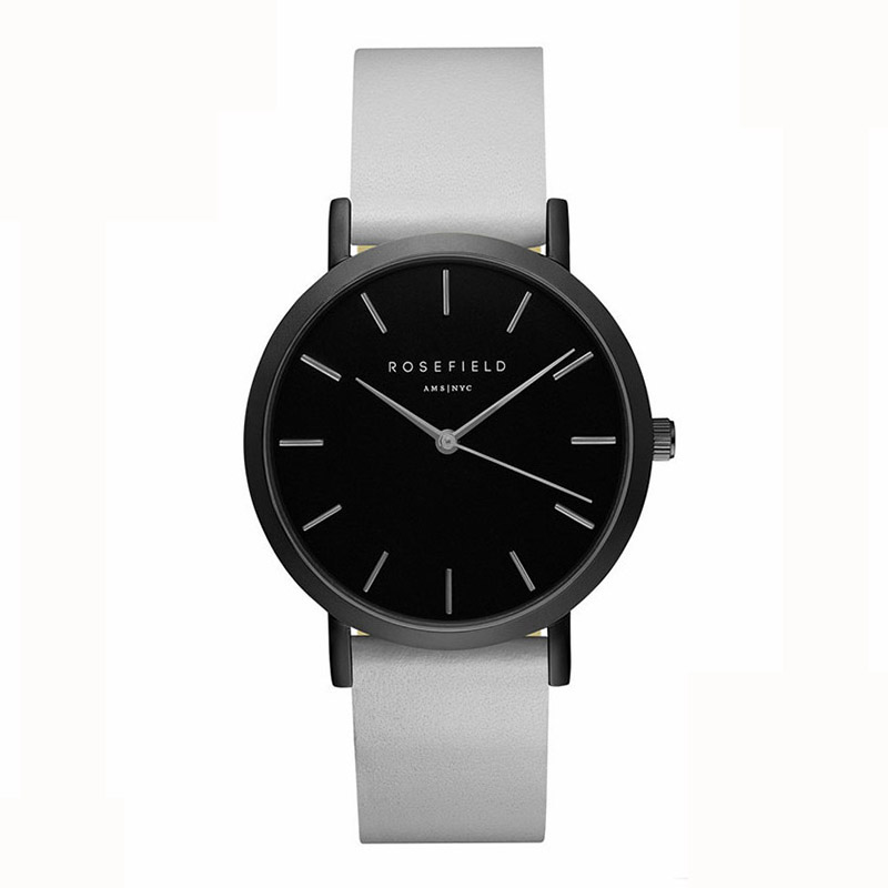 Ladies Ultra-Thin Watch - black white leather strap