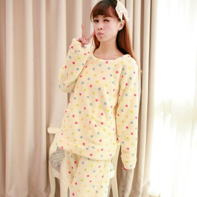 Autumn and winter Women dot polka dot thickening flannel sleepwear coral fleece sleep set lounge