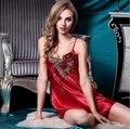 Женщины Сексуальный Атласный Шелк Ночные Рубашки Ночная Рубашка Без Рукавов Вышивка Ночь Платье V-образным Вырезом Спящая Платье Плюс Размер Пижамы Пижамы