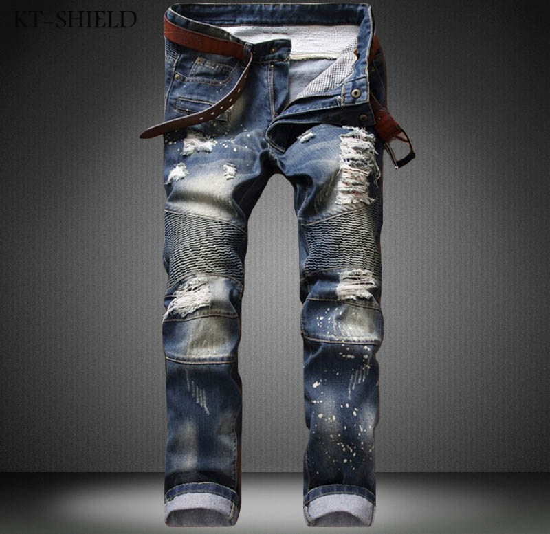 Skinny jeans mens casual trousers pantalon mezclilla hombre ripped Distressed Denim Motorcycle moto Hip hop jogger biker pants 2017 mens denim ripped jeans slim fit hip hop jogger pants men skinny biker jeans streetwear hole pantalon homme